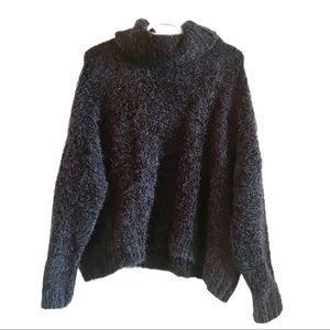 NWT BB Dakota fuzzy black turtleneck sweater